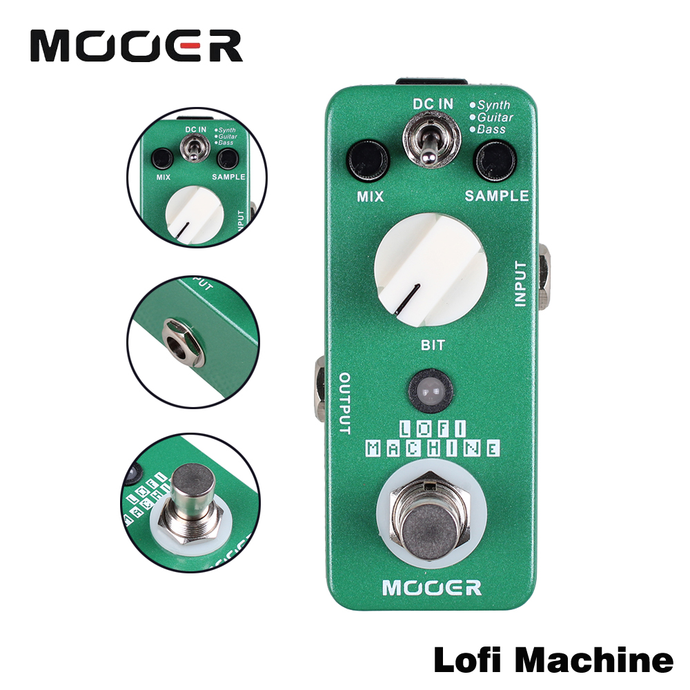 Mooer Full Metal Shell True Bypass Lofi Machine Sample Wide Range Sampling Rate/Depth Reducing Effect Guitar Pedal mooer ensemble queen bass chorus effects effect pedal true bypass rate knob high quality components depth knob rich sound