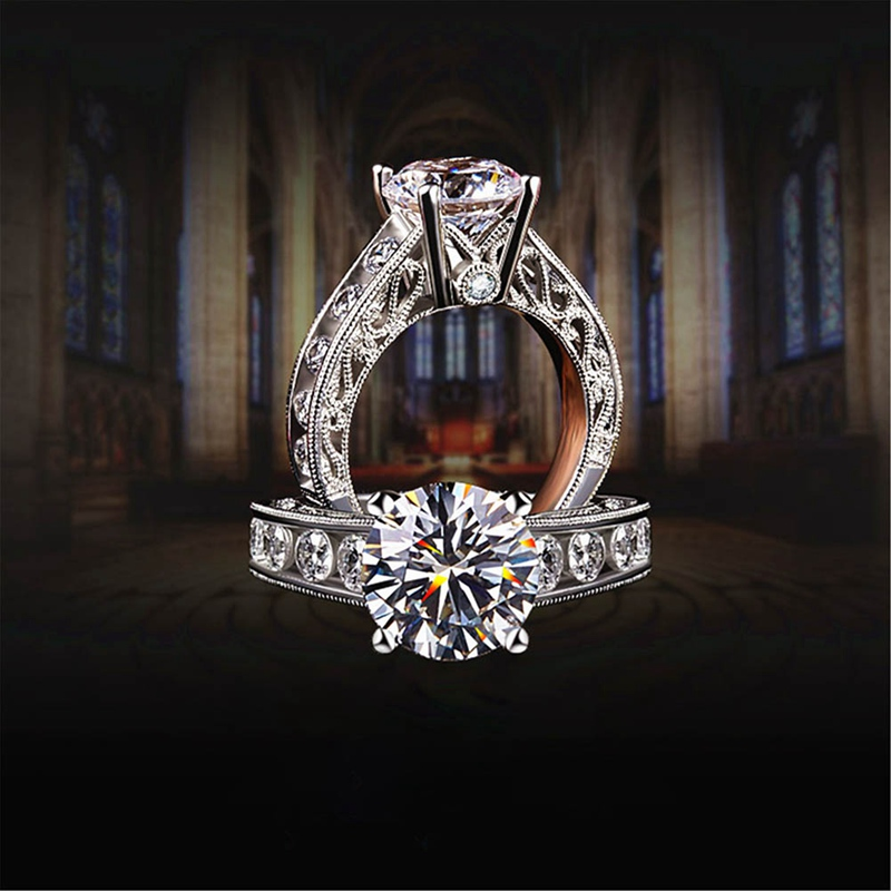 Classic Engagement Ring White Cubic Zircon Female Women Wedding Band CZ Rings Jewelry