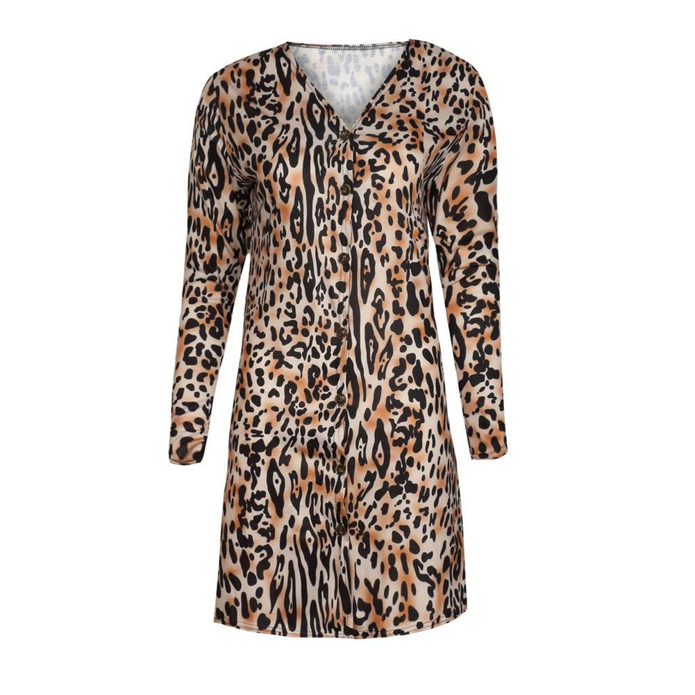 2018 Autumn Winter Women Long Sleeve Loose Knitting Cardigan Sweater Casual Leopard Print Knitted Female Cardigan Pull Femme