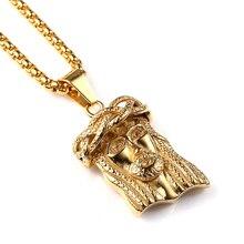 Nyuk hip hop bling del collar de cadena titanium de acero pieza jesus collar de Hip Hop Colgante de Jesús Y 60 cm Cadena de 2016 Hombres joyería