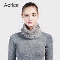 Aorice SF716 Rex Real Mink Fur Scarf Women S Brand New 2017 Genuine Fur Scarves Rings