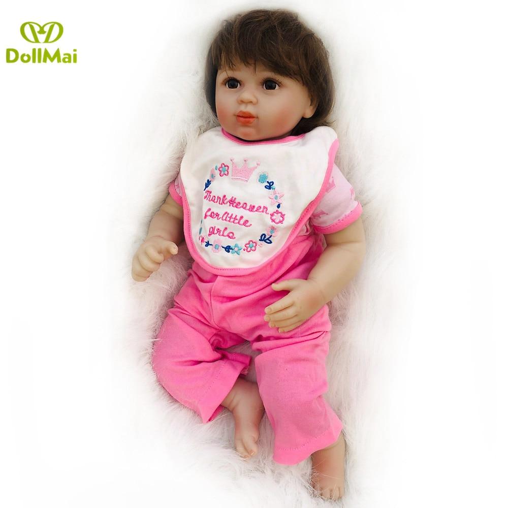 High quality Bebes reborn real soft silicone reborn baby doll 50cm lifelike newborn babies kids playmate boneca reborn