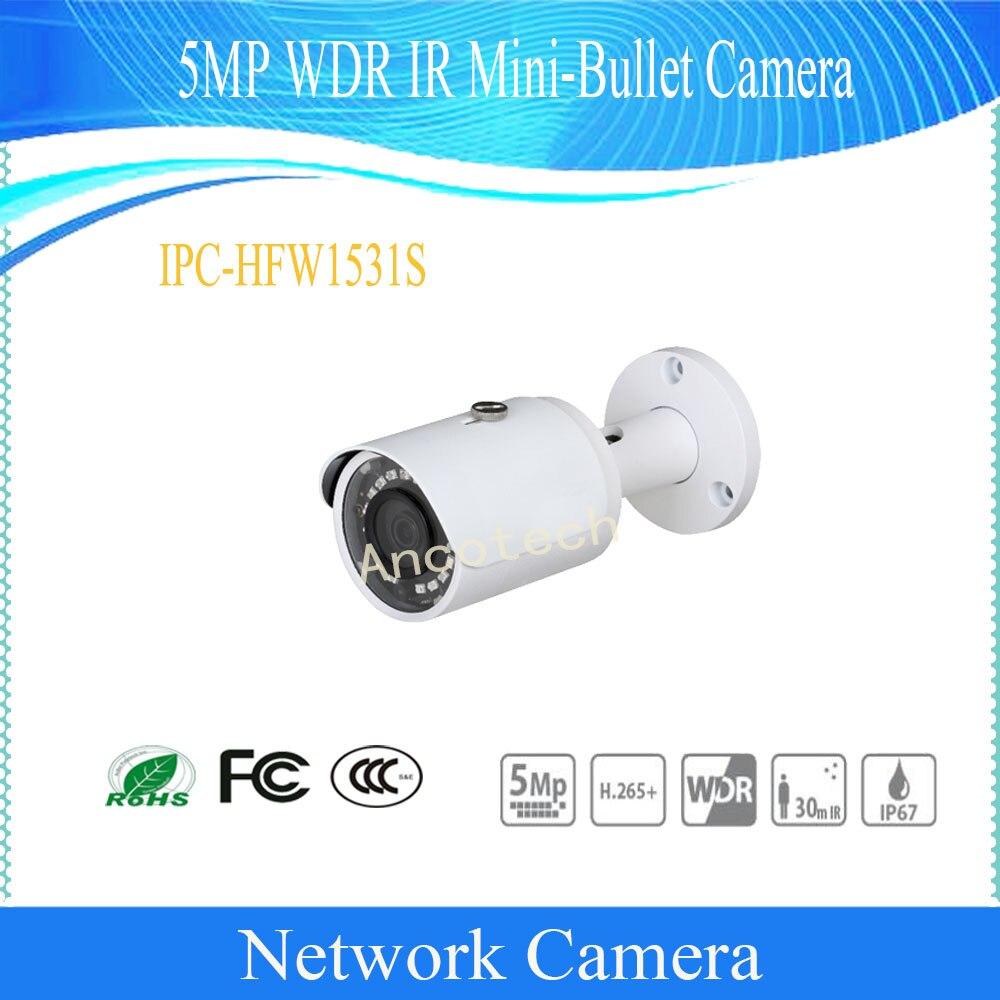 Free Shipping DAHUA Security CCTV IP Camera 5MP WDR IR Mini-Bullet Surveillance Camera With POE IP67 DH-IPC-HFW1531S Free Shipping DAHUA Security CCTV IP Camera 5MP WDR IR Mini-Bullet Surveillance Camera With POE IP67 DH-IPC-HFW1531S