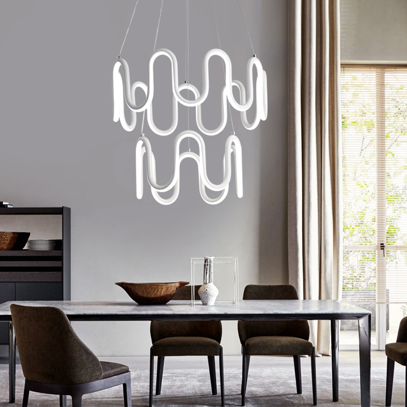 Modern LED minimalist wave curve chandelier living room restaurant led double cafe club hotel chandeliers modern crystal chandelier led hanging lighting european style glass chandeliers light for living dining room restaurant decor
