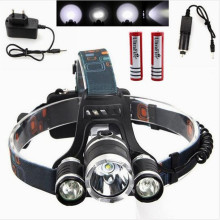 Head lamp 5000LM 4 modes Lamp XM-L T6+2R2 LED Headlamp Headlight 18650 Head Torch Lamp Flashlight+ 2*18650 battery + Chargers
