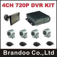 4CH AHD 720P mobile DVR Kit with 4pcs 120degree wide angle IP68 cameras and 1pcs 5.0inch monitor,for truck,bus,van used.
