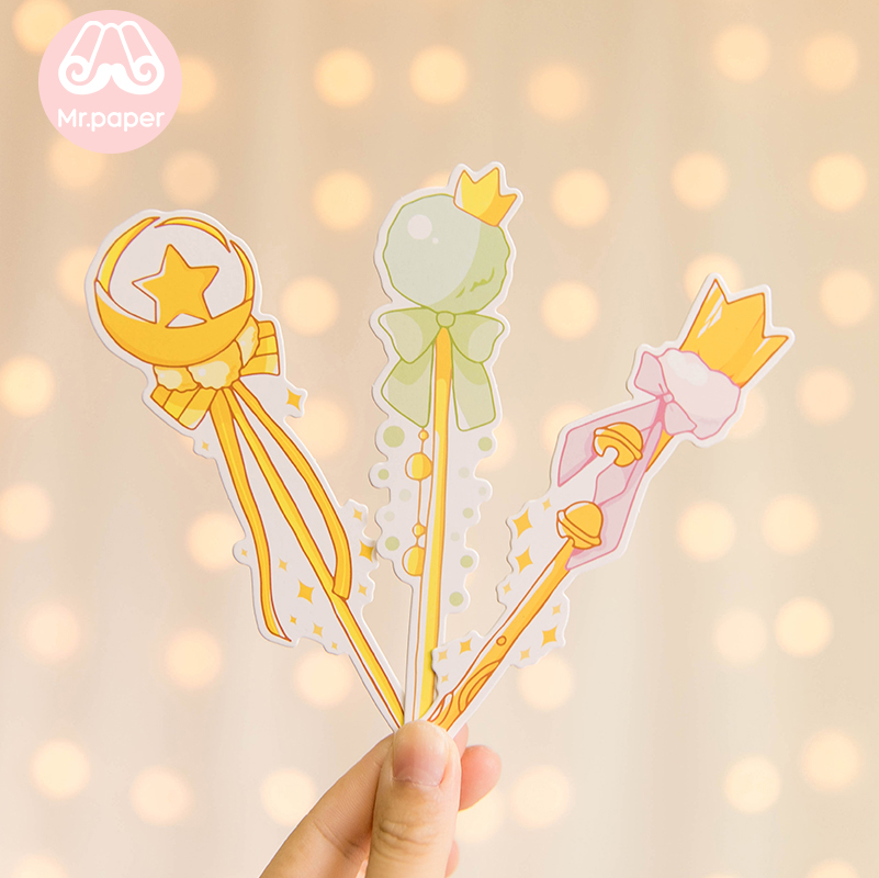 Mr Paper 30pcs/box Cartoon Dreamy Pink Fairy Wand Irregular Bookmarks for Novelty Book Reading Maker Page Paper Bookmarks Gifts 6