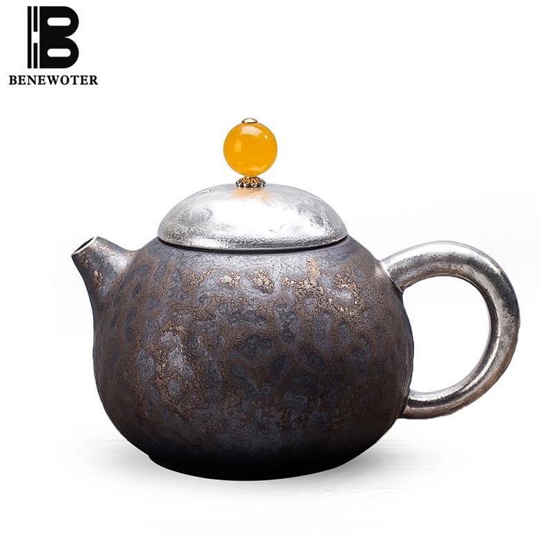 200 мл Винтаж японский xishi Чай горшок Керамика грубая керамика ржавчина железо серебро Чай горшок пуэр кунг фу Чай комплект посуда для напитк