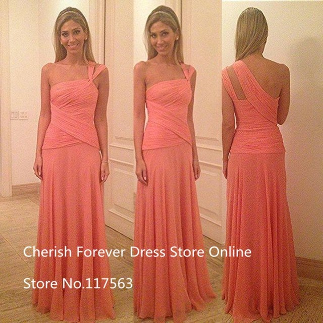Vestido One Shoulder Sleeveless Cross Pleated A Line Chiffon Long Bridesmaid Dress Event Coral Brides maid Dress