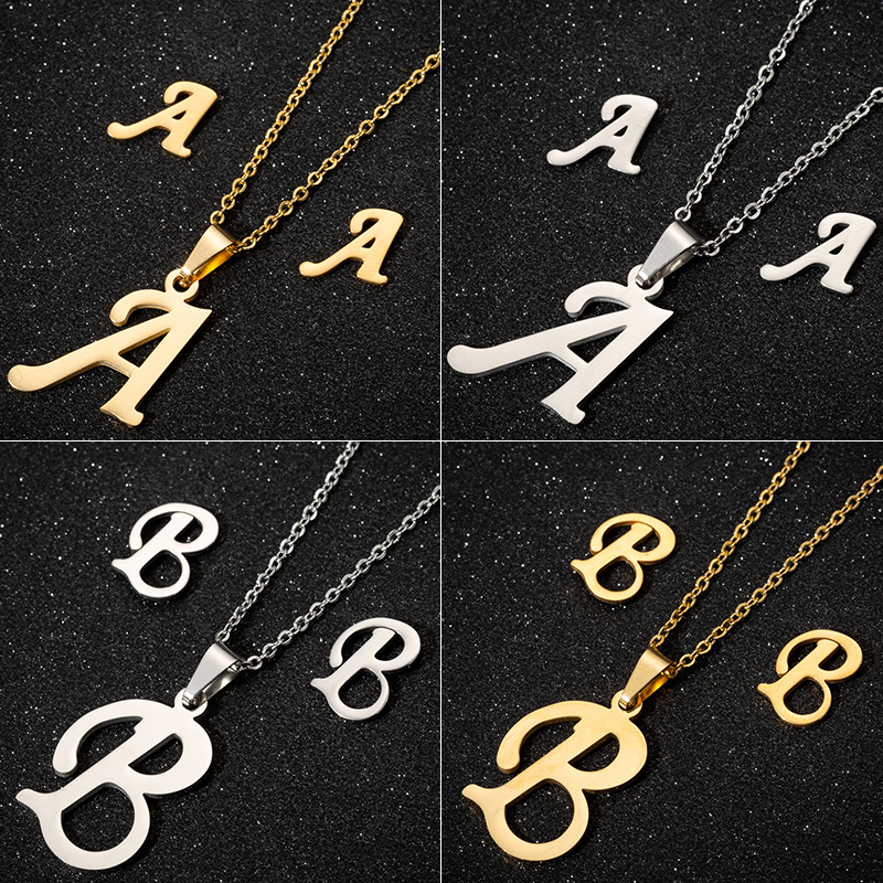 Jisensp <font><b>Stainless</b></font> <font><b>Steel</b></font> Initials Letter Necklace Pendant <font><b>for</b></font> <font><b>Women</b></font> Customized <font><b>Jewelry</b></font> <font><b>Set</b></font> Alphabet Earrings Girls Birthday Gift image