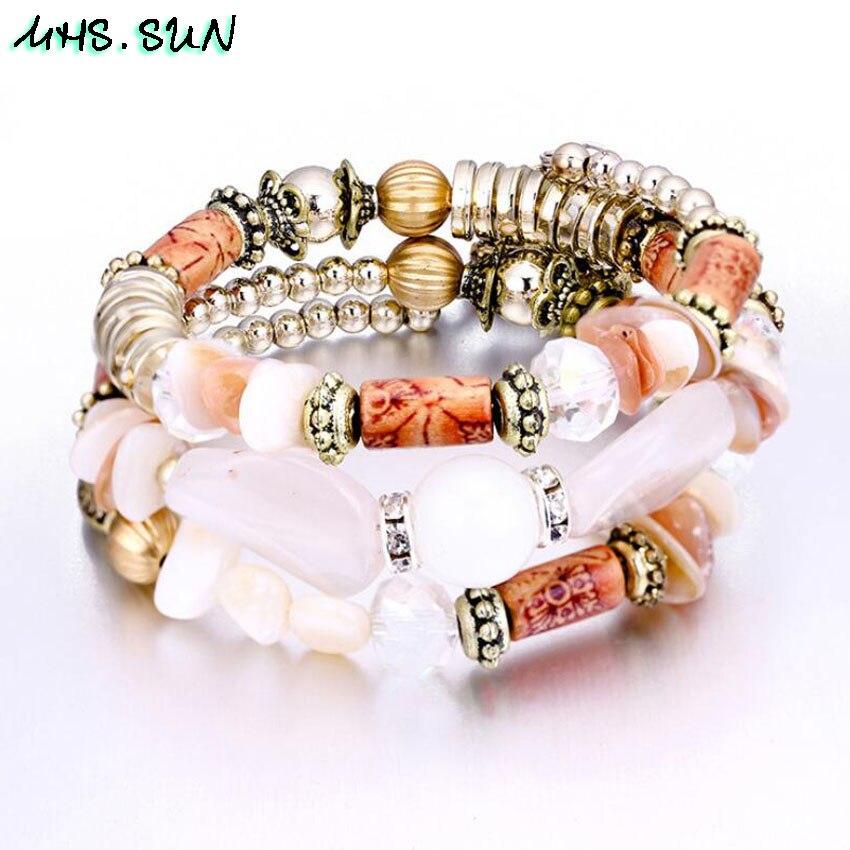50-1 Fashion Beads Bracelets Bangles For Women Bohemia Vintage Layered Bracelets Bangles European Style Ethnic Girls Jewelry