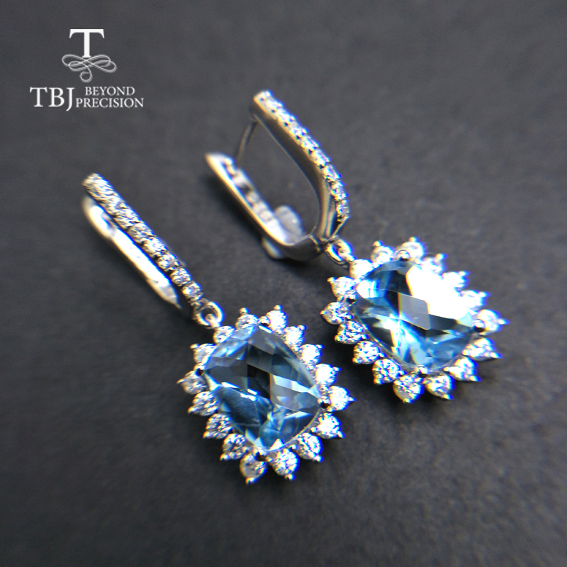 TBJ,6.5ct up Clasp earring with natural good color topaz in 925 sterling silver jewelry,natural gemstone earring,classic design tbj 2017 clasp earring with natural brazil aquamarine in 925 sterling silver jewelry natural gemstone earring classic design