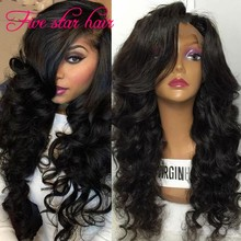 Hot sale 150% density Full Lace Wig Glueless with side part Bangs Virgin Unprocessed Human hair Brazilian Lace Front Wigs