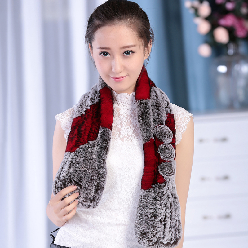 Brand new real rabbit three flowers and color blocking scarf/neckerchief