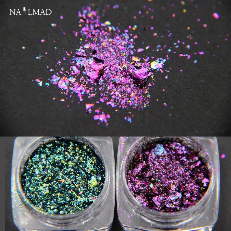0.2gram / box Chameleon Flakes Мультихромды Nail Holo Флакстары Galaxy Nail Flecks Ұнтақты Жылтыратқыш Nail Art Glitter Шаң