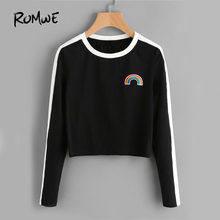 501453da2a ROMWE Rainbow Patch Cute T-shirt Contrast Panel Crop Top 2018 Women Casual  Color Block Tops Autumn New Long Sleeve Brief T-shirt