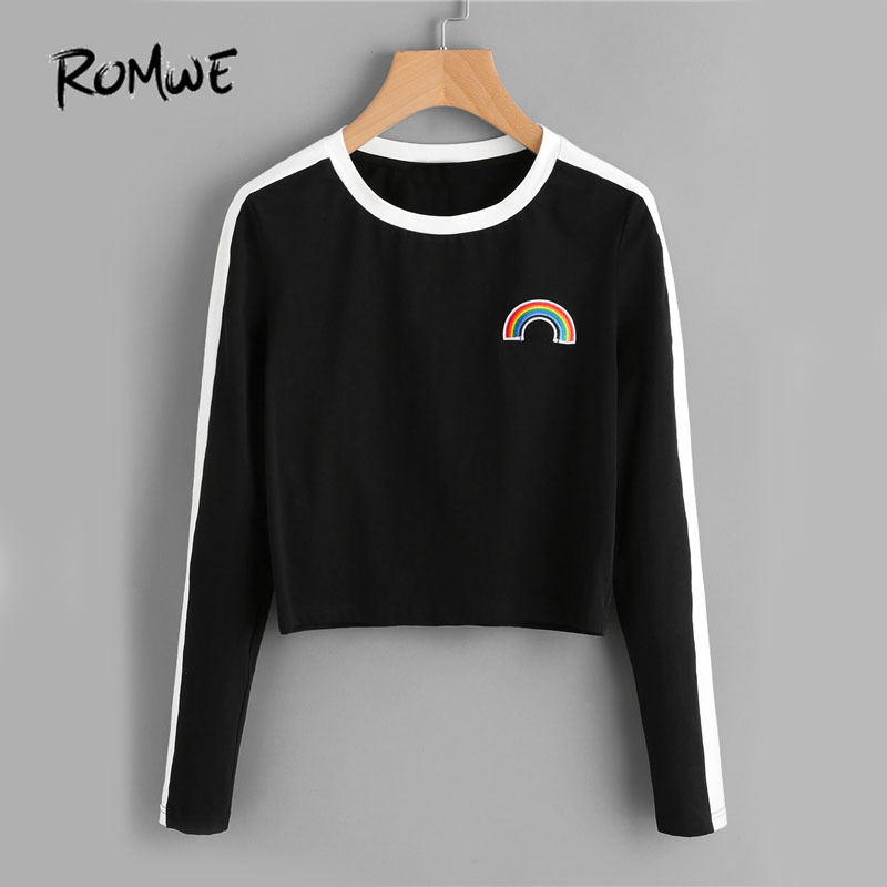 ROMWE Rainbow Patch Cute T-shirt Contrast Panel Crop Top 2018 Women Casual Color Block Tops Autumn New Long Sleeve Brief T-shirt