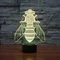 Mosquito Shape 3D USB Led Night Light 7colors Changing Christmas Mood Lamp Touch Button Living Bedroom Table Desk Lighting