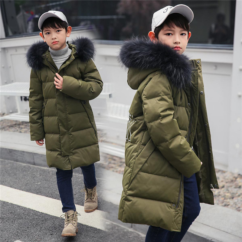 Children's Down Jacket For Boy Warm Thick Hooded Long Kids Outerwear 2018 Brand Casual Kids Overcoats Parkas Boys Clothing