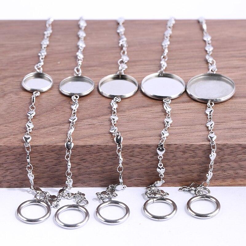 reidgaller 5pcs Fit 12mm 14mm 16mm 18mm 20mm Round Cabochon Bracelet Base diy stainless steel bezel bracelets blank trays