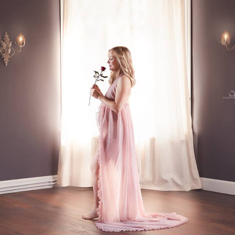 Chiffon Sexy Maternity Dress Photo Shoot Maxi Maternity Gown Split Front Maternity Photography Props Pregnancy Clothes Plus Size stylish chiffon solid color plus size maxi skirt for women