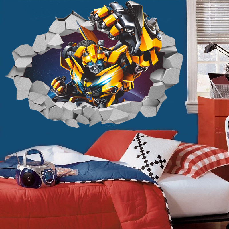 Removable transformers bumblebee through wall stickers for kids baby  nursery boy room decorations cool poster home. Popular Bumblebee Cartoon Transformers Buy Cheap Bumblebee Cartoon