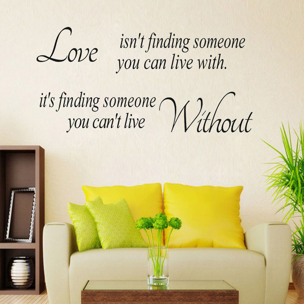 Wall Paper Quote Love Without Wall Art Vinyl Stickers Removable DIY ...