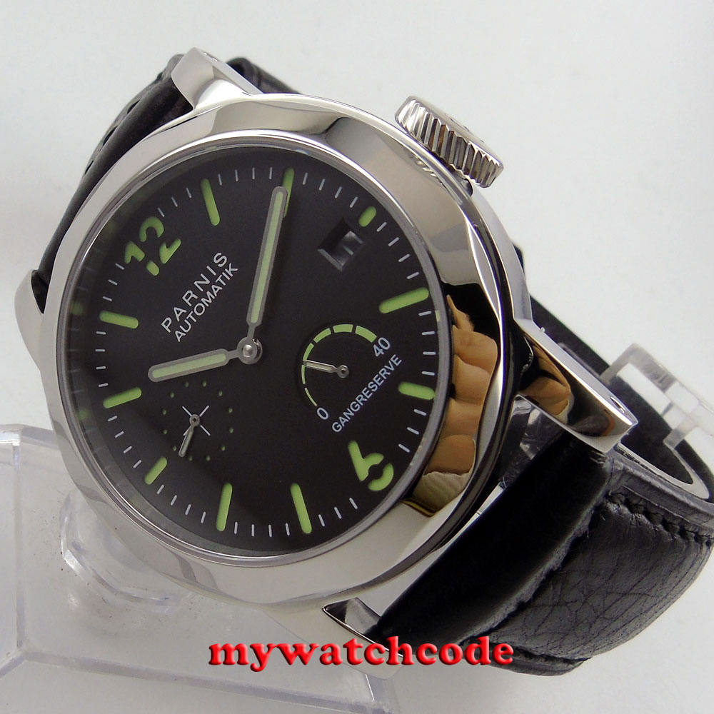 Polished 44mm Parnis Black Sandwich Dial Date Window Power Reserve Sapphire Glass Sea-gull 2530 Automatic Men's Watch P700