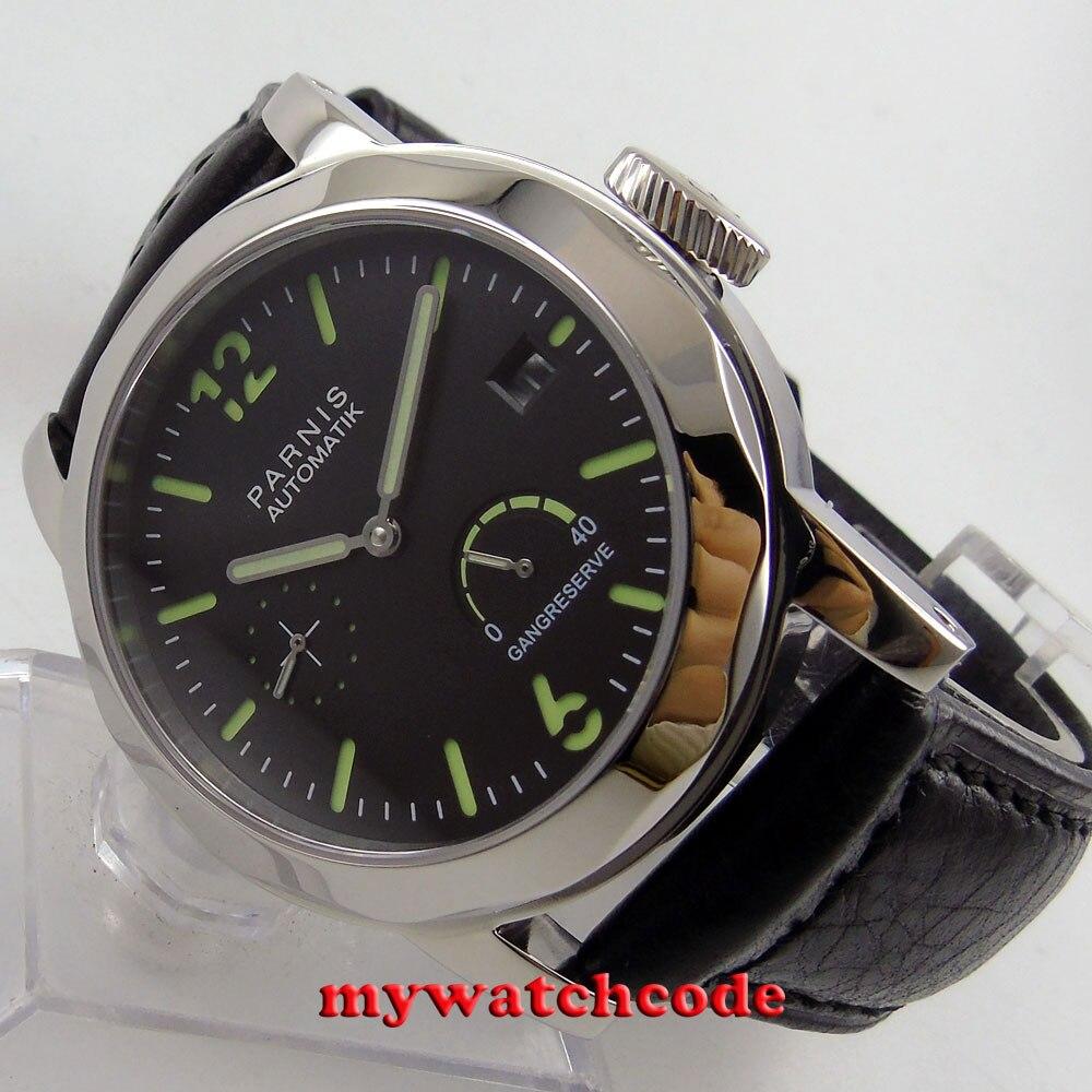 Polished 44mm Parnis black sandwich dial date window power reserve Sapphire glass sea-gull 2530 Automatic Men's Watch P700 цена и фото