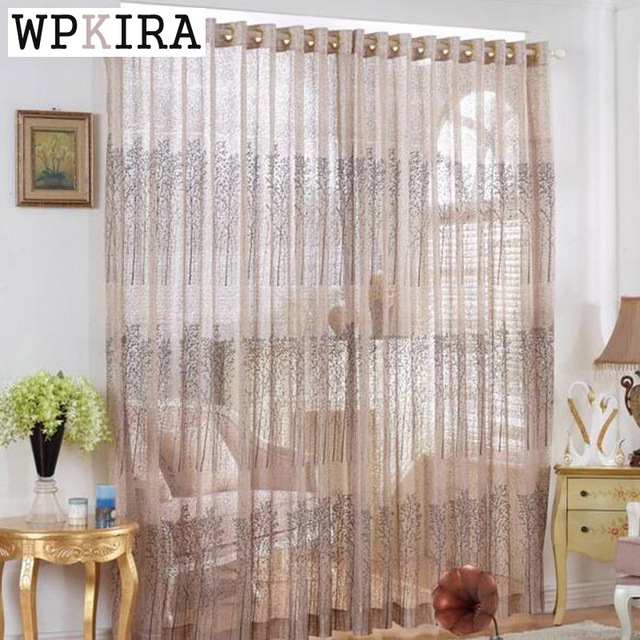 Designer Curtain Embroidery Small Trees Tulle Windows Transparent ...