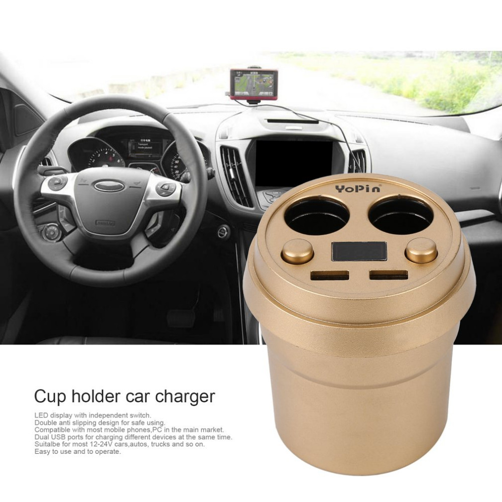 Dual USB 2.4A DC12-24V Car Cigarette Lighter Splitter Output Cup Car <font><b>Charger</b></font> Car Adapter For Mobile <font><b>Phones</b></font> Tablets Drop Shipping