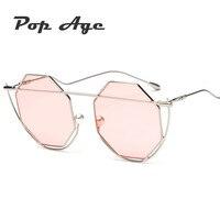 Pop Age Wholesale Fashion Women Men Hexagon Sunglasses Brand Designer Twin Beams Sun Glasses Eyeglasses Lentes