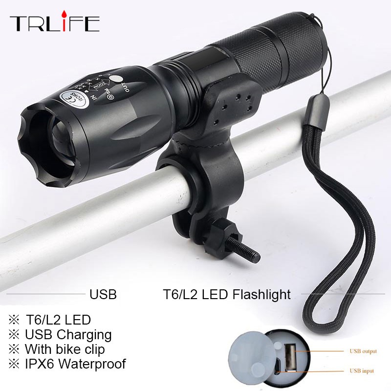 Newest USB 8000 Lumens Flashlight LED  -T6 L2 Front Torch Bicycle Light lamp with USB Charger+Bike ClipNewest USB 8000 Lumens Flashlight LED  -T6 L2 Front Torch Bicycle Light lamp with USB Charger+Bike Clip