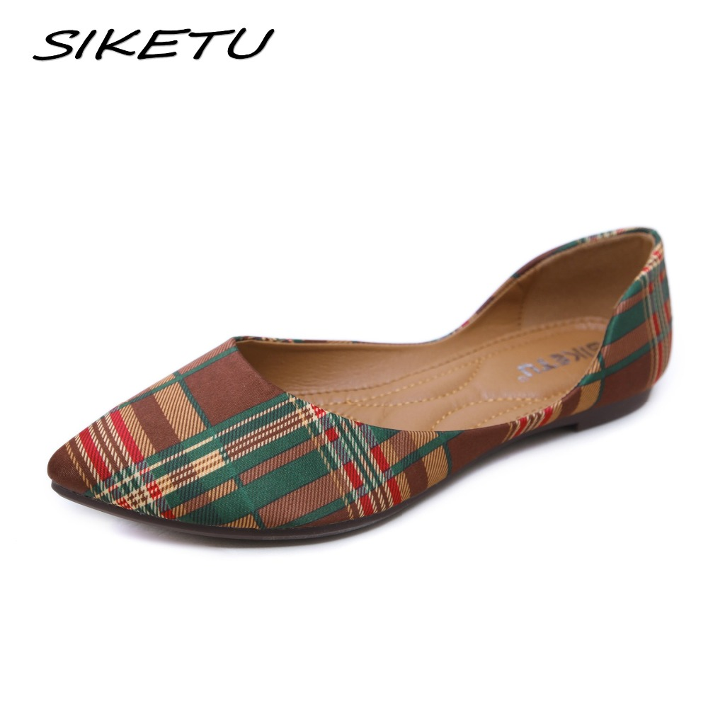 SIKETU Women Casual Flat Ballet Shoes Woman Slip on Bohemia Ethnic Boat Soft Female Flats Shoes Pointed toe Lazy Shoes 35-42 стоимость