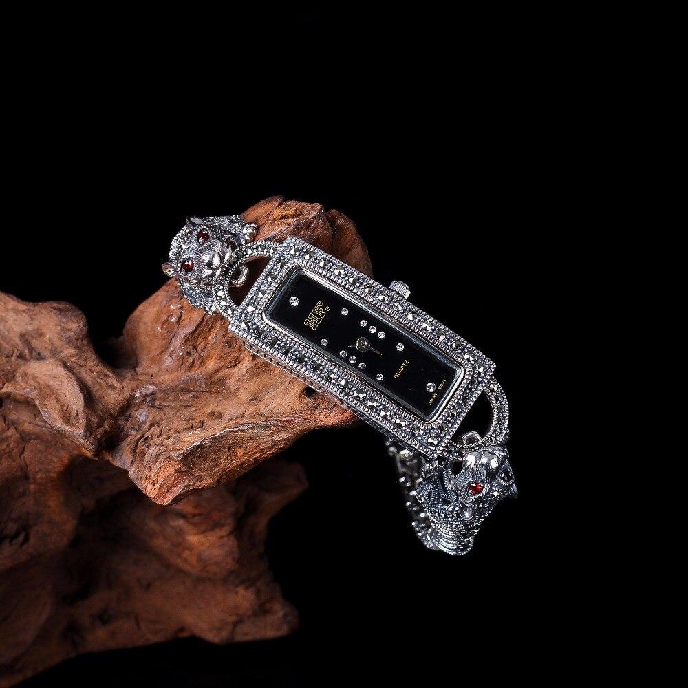 New Arrival Limited Cheetah Watch Classic Fine Jewelry S925 Silver Pure Thai Silver Leopard Rhinestone Bracele Watches