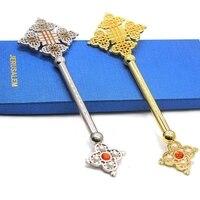 يد معدنية نعمة الصليب مع صليب مطلية بالذهب تصميم البيزنطية مع الحجارة الدينية الأرثوذكسية رمز القدس