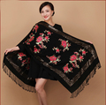 Free Shipping!New Arrival Autumn Winter Women's 100% Wool Beads Embroider Flower Shawl Scarf  Wrap Warm WS2014-19
