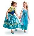 HOT Summer Girls Dress Baby Girls Elsa Anna Fiebre Vestidos Niños Princesa Vestido de Los Niños Vestido de Fiesta de Cumpleaños Regalo de Cospaly Vestuario