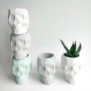 Image 2 - 3D skull เรขาคณิตดอกไม้หม้อแม่พิมพ์คอนกรีตแม่พิมพ์ซิลิโคน diy ผู้ถือปากกาซีเมนต์ปูนปลาสเตอร์แม่พิมพ์ตกแต่งเครื่องมือ