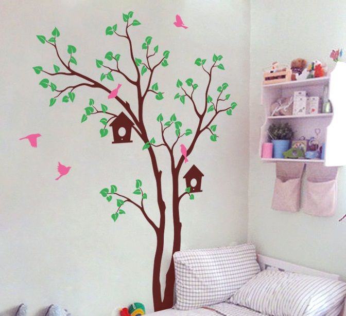 Huge Tree Wall Sticker With Birdhouse Vinyl Mural For Baby Children Bedroom Sweet Decoration Creative Tree Pattern Mural Y 958 in Wall Stickers from Home Garden