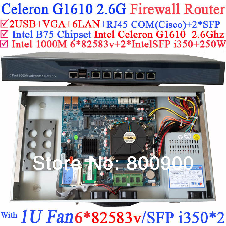 1U network Firewall Barebone with B75 Intel Celeron G1610 2.6G two intel i350 SFP six 82583v 1000M LAN ROS Mikrotik etc support gigabit ethernet router barebone system with six intel pci e 1000m 82574l gigabit lan intel pentium g2020 2 9g mikrotik ros etc