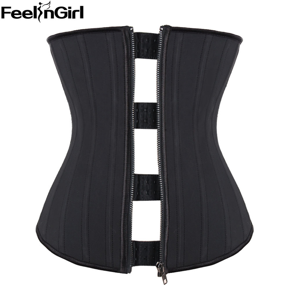 Promotions ! Latex   Corset   Modeling Strap Zip Hook 25 Steel Boned Rubber   Corsets   and   Bustiers   Underbust   Corset   Body Shapewear -B