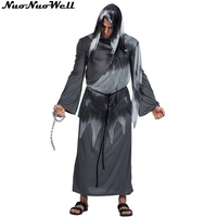 Free Shipping Men's Black Devil Costumes Halloween Evil Horror Demon Costume Robe Halloween Cosplay Carnival Party Costumes