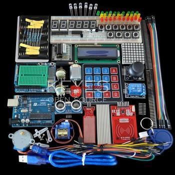 طقم بدء التشغيل لـ Arduino Uno R3-Uno R3 لوحة الخبز وحامل محرك الخطوة/سيرفو/1602 LCD/سلك توصيل معزز/UNO R3