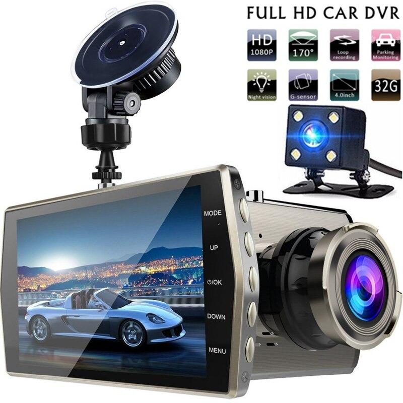 Dual Lens Dash Cam Car DVR Vehicle Camera Full HD 1080P 4 IPS Front+Rear Night Vision Video Recorder G-sensor Parking Monitor