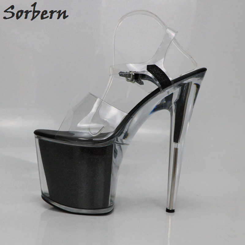Sorbern Black Bling Ankle Straps Platforms Glitter Platform Shoes Women Summer Styles Slingbacks Clear Pvc Female Shoes NewSorbern Black Bling Ankle Straps Platforms Glitter Platform Shoes Women Summer Styles Slingbacks Clear Pvc Female Shoes New