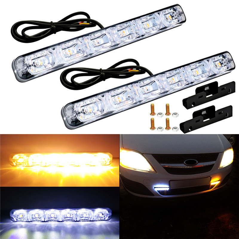 цена на 2PCS 6 LED Universal Car Daytime Running Light Waterproof DRL Kit Day Light Auto Driving Light External Light fog lights