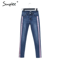 Simplee Casual Skinny Jeans Women Denim Streetwear Boyfriend Pocket Jeans Pants Autumn 2017 Chic Blue Winter