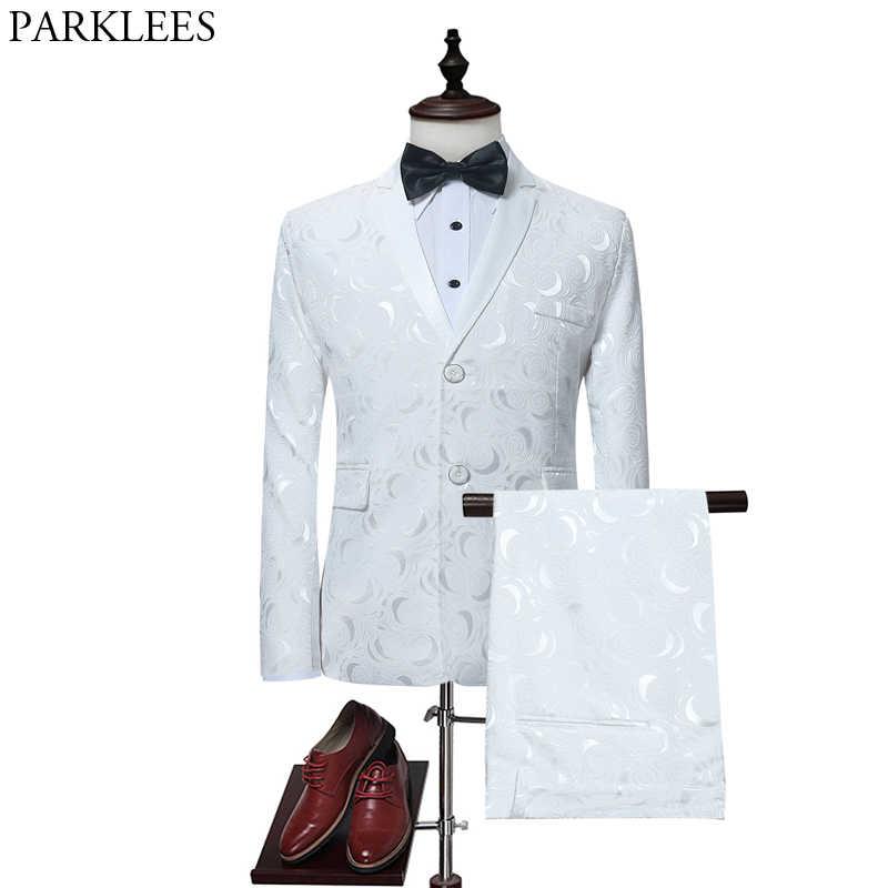 メンズエレガントなホワイトローズフローラルジャカードスーツとパンツ結婚式 Goom 2 ピーススーツの男性ステージ歌手ウェディング衣装マリアージュオム