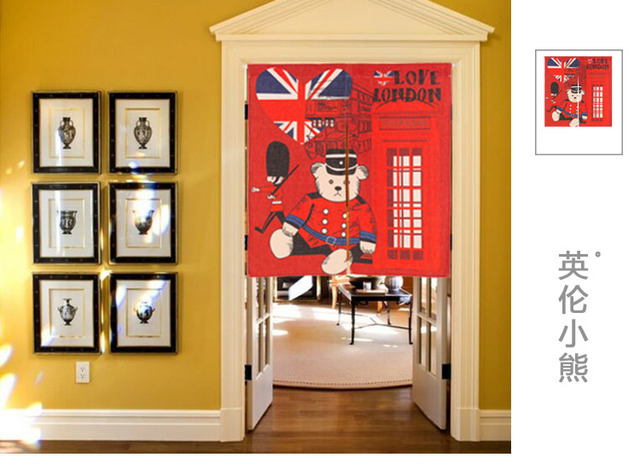 Japan style linen cotton England London bear door curtain decoration hanging bedroom living room kitchen home & Japan style linen cotton England London bear door curtain ...